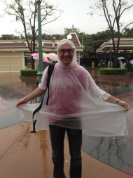It was a bit wet on day 2, Richard didn't have a rain coat with him so had to buy a Mickey Mouse poncho.