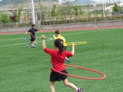 The hula hoop race, very tricky to keep the hoop moving and run at the same time, though some made it look so easy.