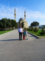 At the start of our city tour, outside a Turkish Mosque.