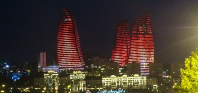 The Flame Towers lights change from flickering fire (as this photo) to the Azeri flag.