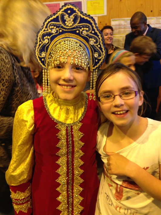 Katrine and Celeste, in her traditional Russian outfit.