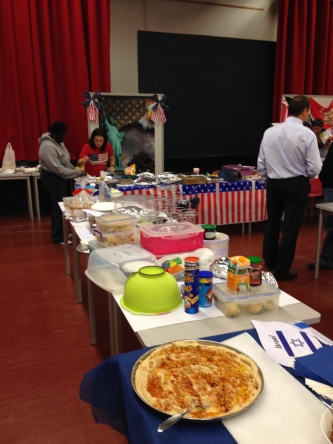 The british table getting set up.