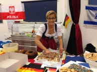 Angelinka getting the German table ready.